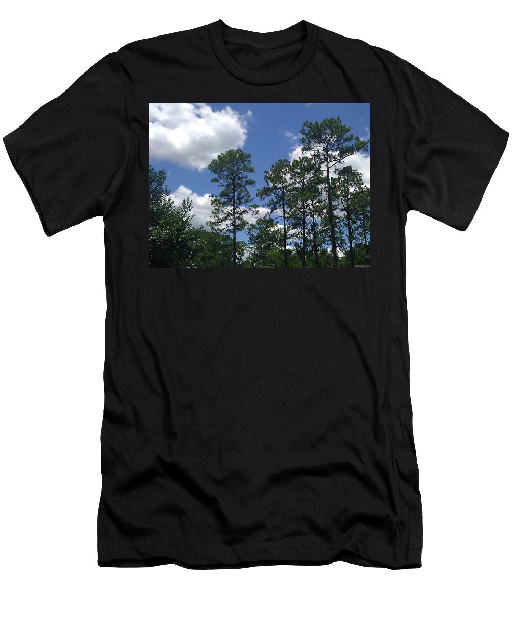 Pines Men's T-Shirt (Athletic Fit) featuring the photograph The Pines Of Jackson Heights by Laura Martin