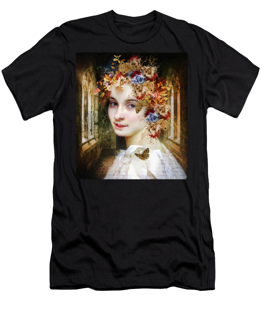The Poets Lover Men's T-Shirt (Athletic Fit) featuring the painting The Poets Lover by Georgiana Romanovna