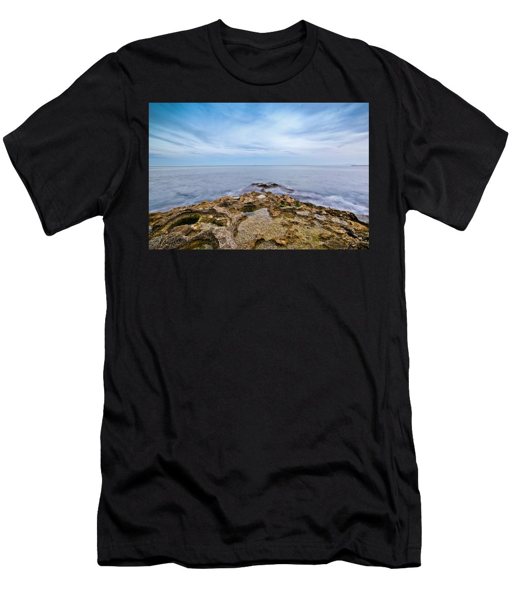 Seascape Men's T-Shirt (Athletic Fit) featuring the photograph The Point by Robbie Benson