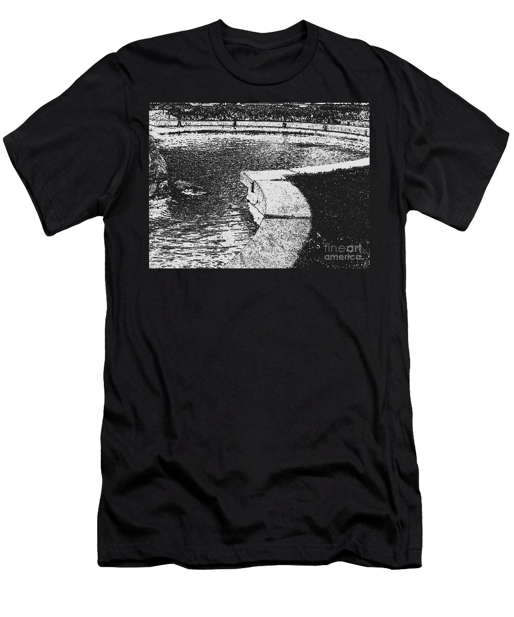 Black And White Men's T-Shirt (Athletic Fit) featuring the photograph The Pond by Jeffery L Bowers