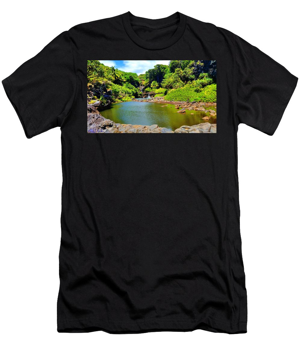 Waterfall Men's T-Shirt (Athletic Fit) featuring the photograph The Pools Of Ohe'o by Michael Rucker