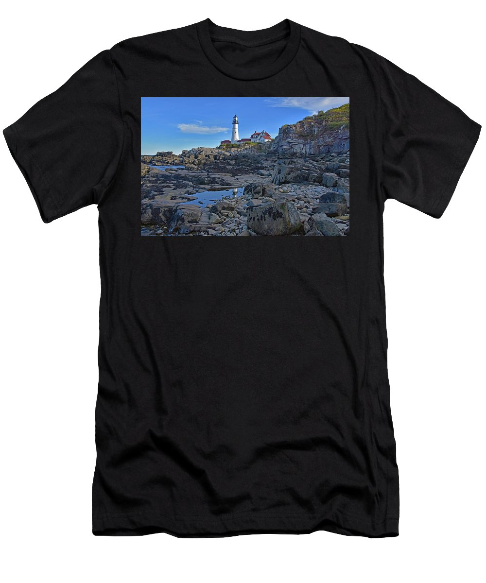 Landscapes Men's T-Shirt (Athletic Fit) featuring the photograph The Portland Lighthouse by Mary Lisa photography