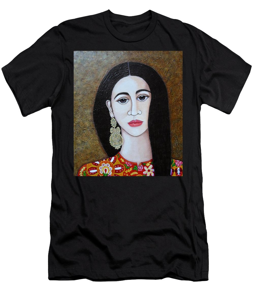 Woman Men's T-Shirt (Athletic Fit) featuring the painting The Portuguese Earring 2 by Madalena Lobao-Tello