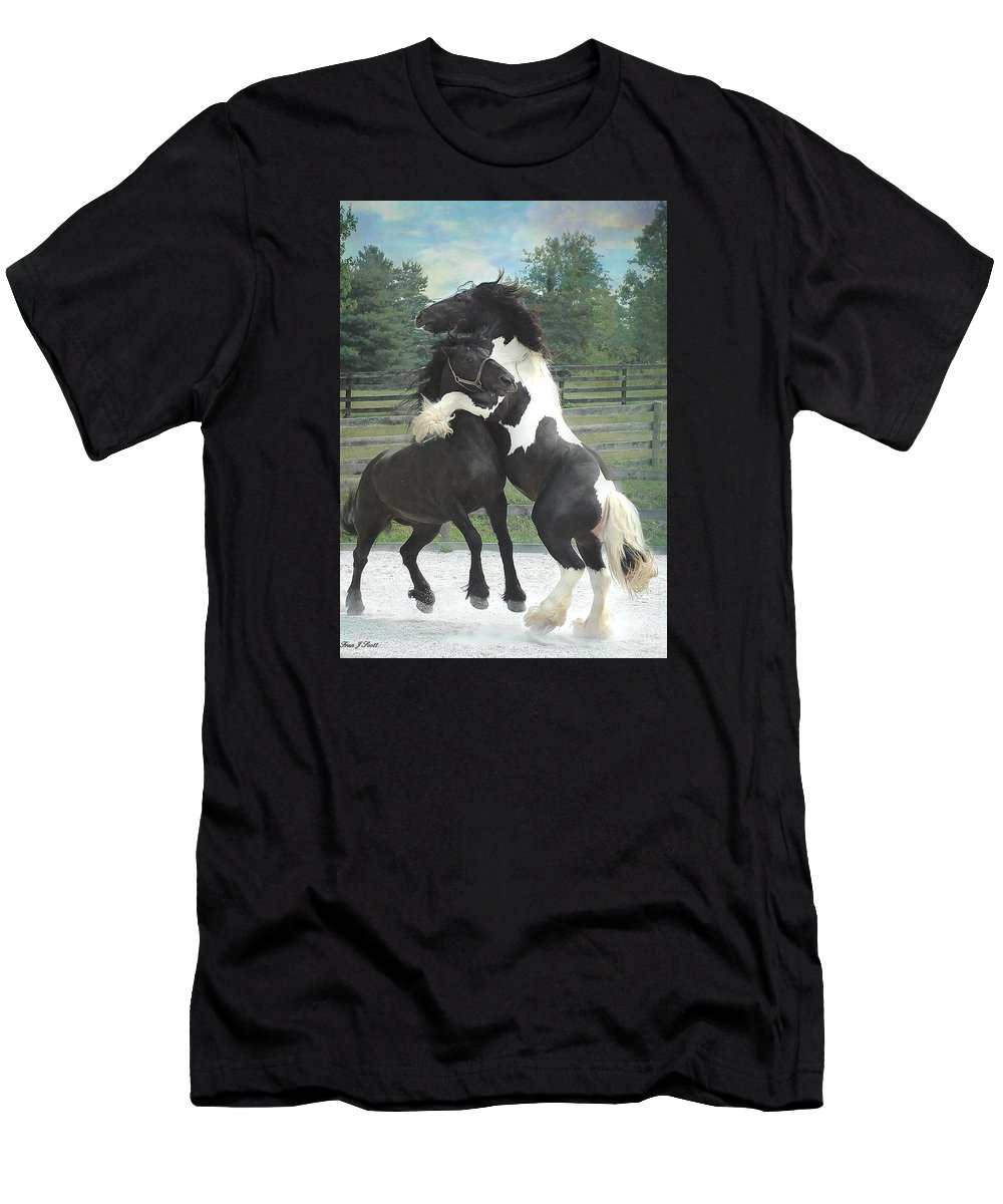 Horses T-Shirt featuring the photograph The Posturing Game by Fran J Scott