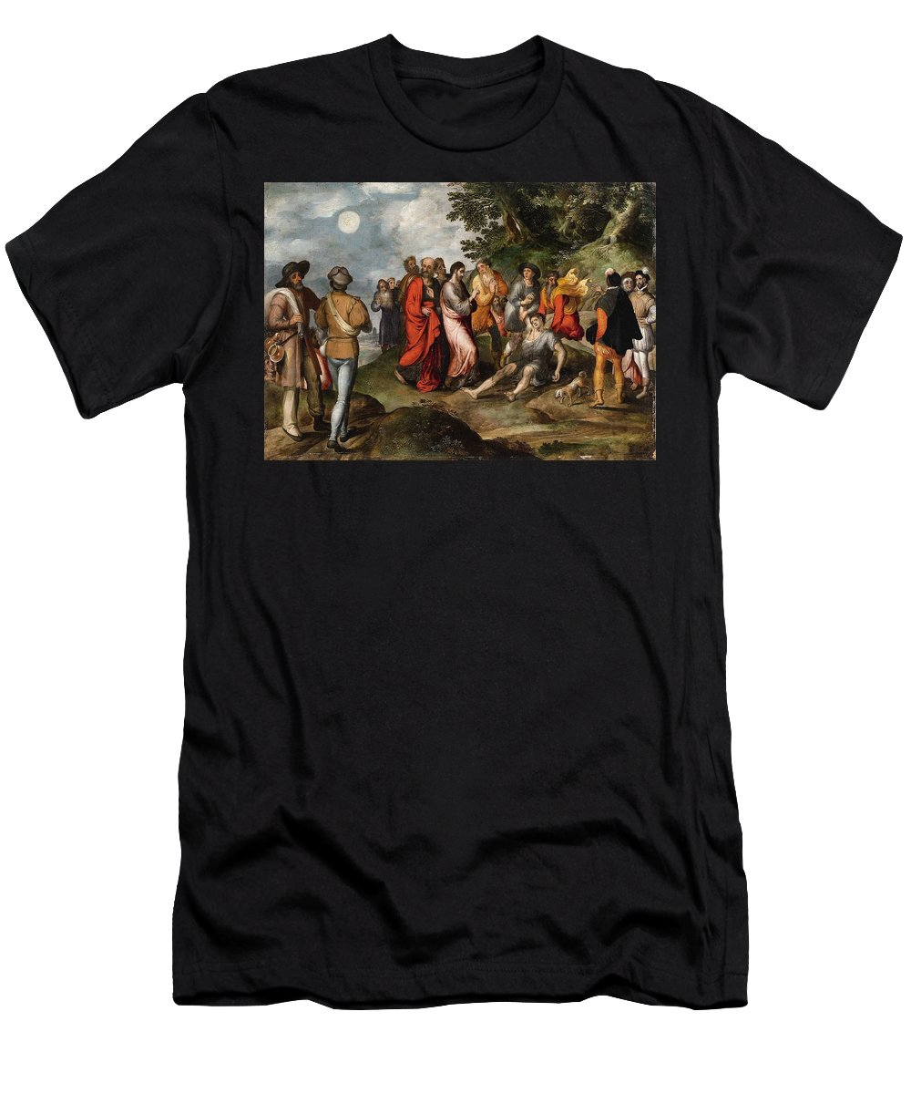 Gillis Mostaert Men's T-Shirt (Athletic Fit) featuring the painting The Raising Of Lazarus by MotionAge Designs