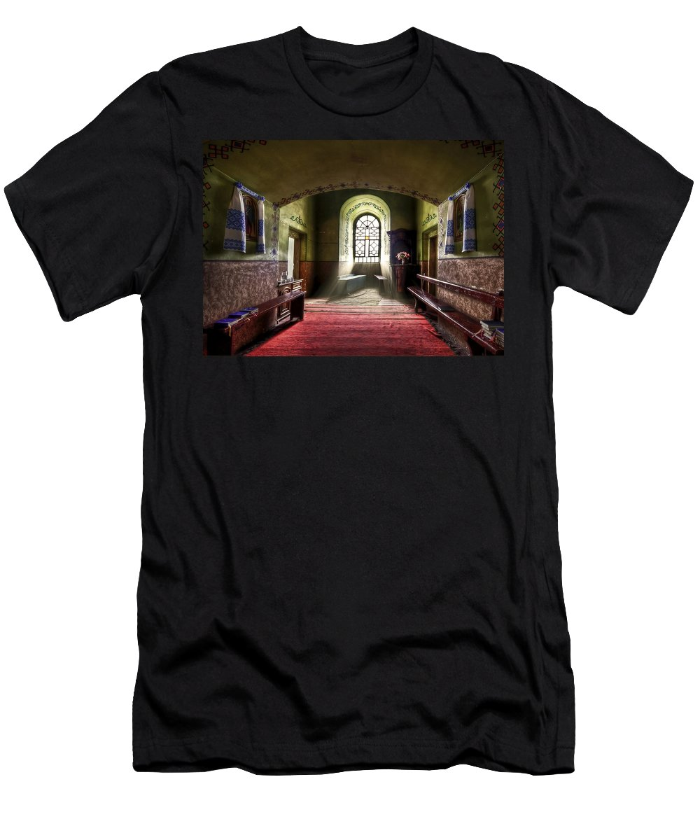 Church Men's T-Shirt (Athletic Fit) featuring the photograph The Reading Room by Evelina Kremsdorf