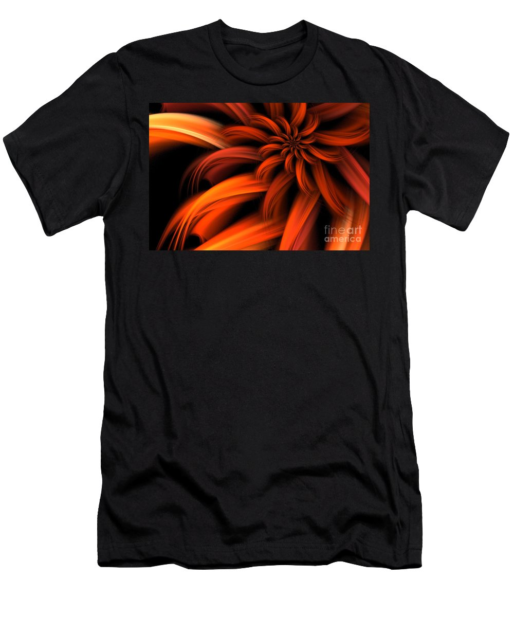 Dahlia Men's T-Shirt (Athletic Fit) featuring the digital art The Red Dahlia by John Edwards