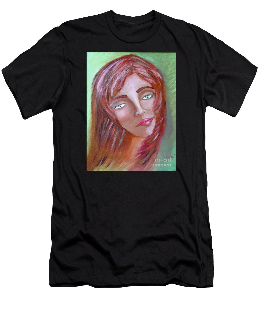 Redheads Men's T-Shirt (Athletic Fit) featuring the painting The Redhead by Laurie Morgan