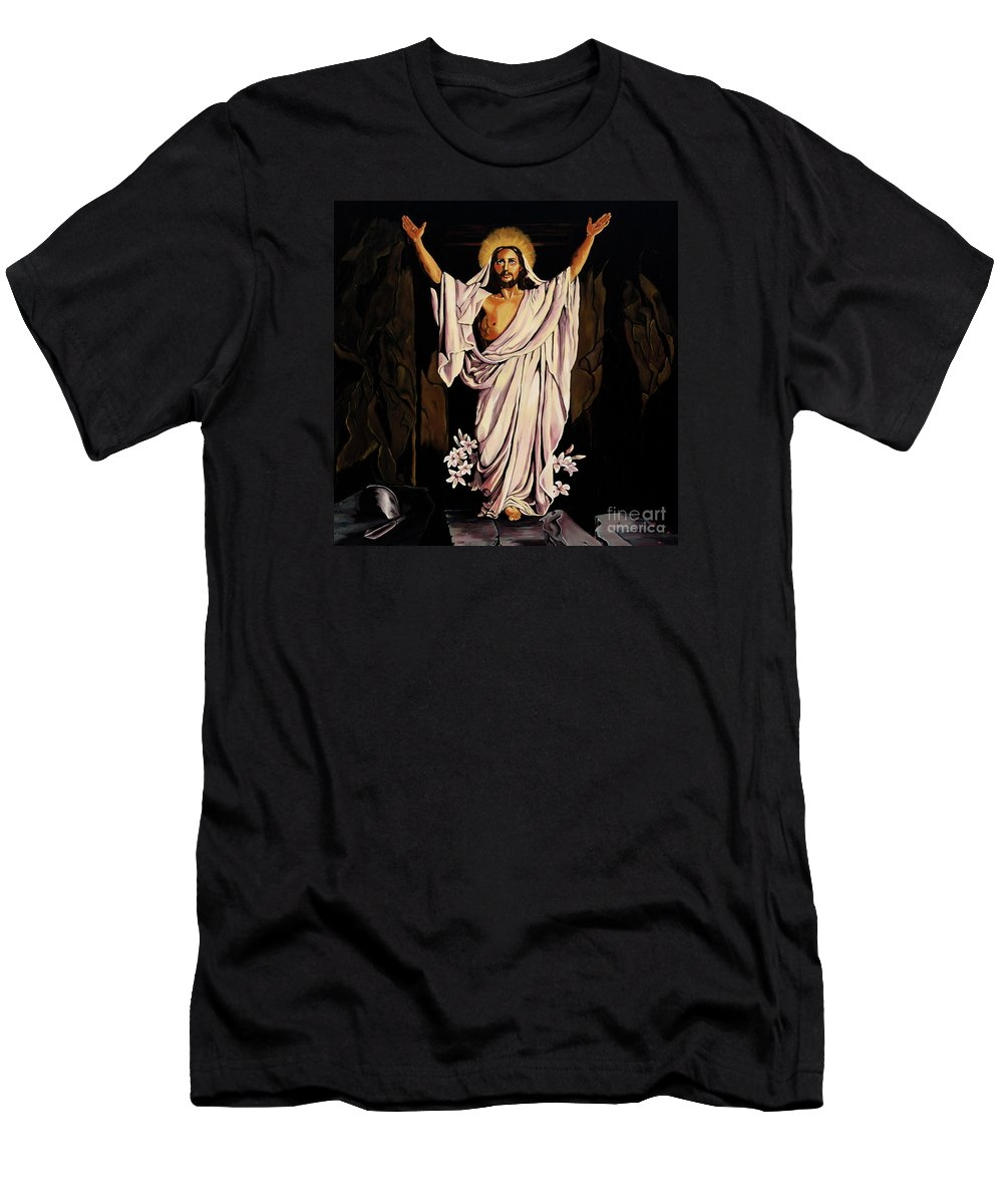 Religious Men's T-Shirt (Athletic Fit) featuring the painting The Resurrection by Milagros Palmieri