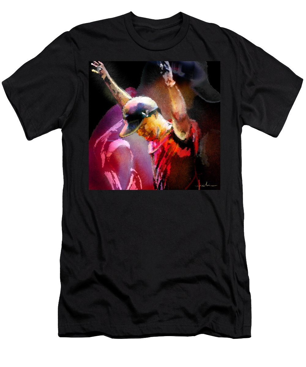 Tiger Woods Men's T-Shirt (Athletic Fit) featuring the painting The Return Of The Tiger 04 - The Eagle by Miki De Goodaboom
