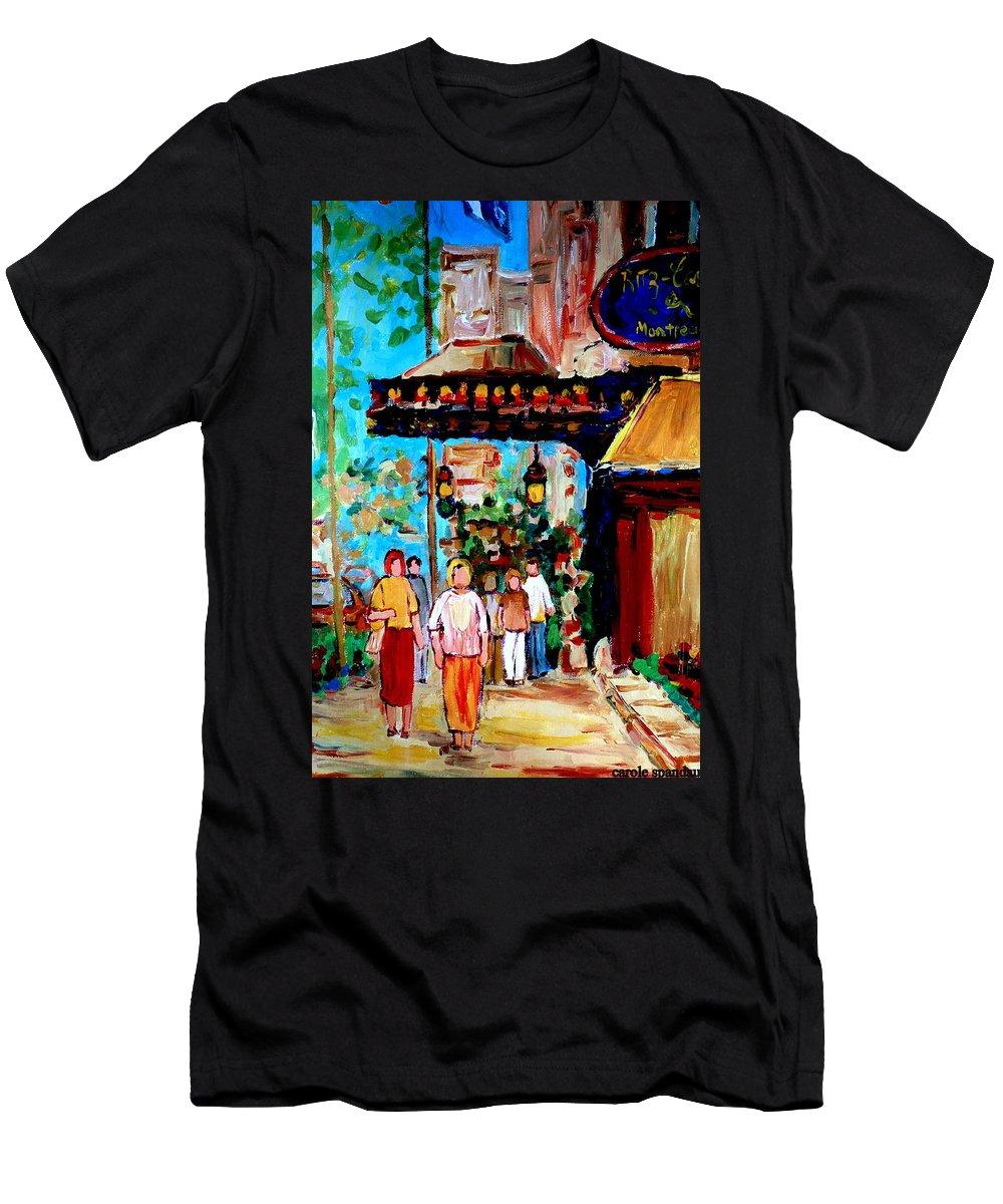 The Ritz Carlton In Spring Men's T-Shirt (Athletic Fit) featuring the painting The Ritz Carlton In Spring by Carole Spandau