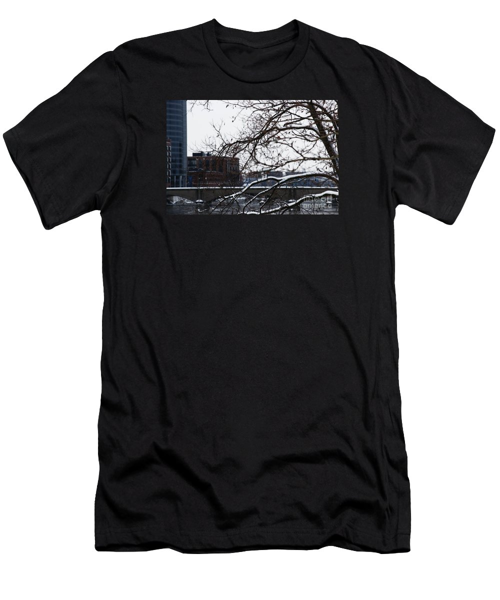Winter Men's T-Shirt (Athletic Fit) featuring the photograph The River Divide by Linda Shafer