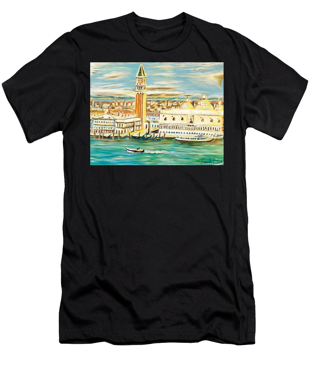 Men's T-Shirt (Athletic Fit) featuring the painting The River by Fernando Bolivar