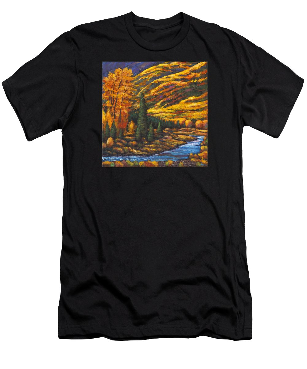 Landscape Men's T-Shirt (Athletic Fit) featuring the painting The River Runs by Johnathan Harris
