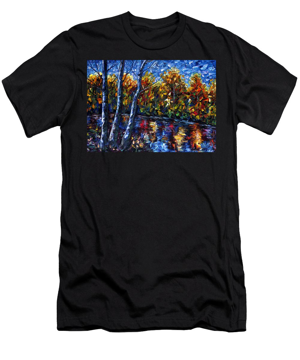 Impasto Men's T-Shirt (Athletic Fit) featuring the painting The River Song by Lena Owens OLena Art