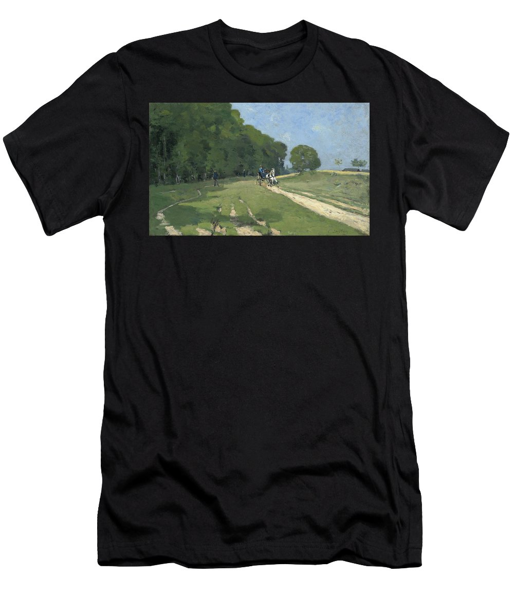 The Road Near The Park Of Courances Men's T-Shirt (Athletic Fit) featuring the painting The Road Near The Park Of Courances by MotionAge Designs