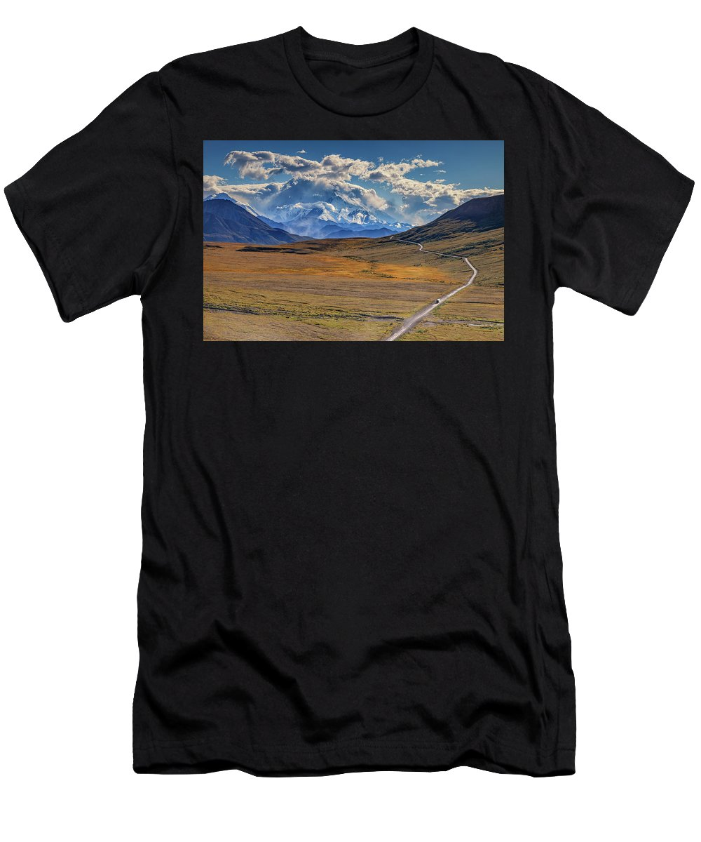 Alaska Men's T-Shirt (Athletic Fit) featuring the photograph The Road To Denali by Rick Berk