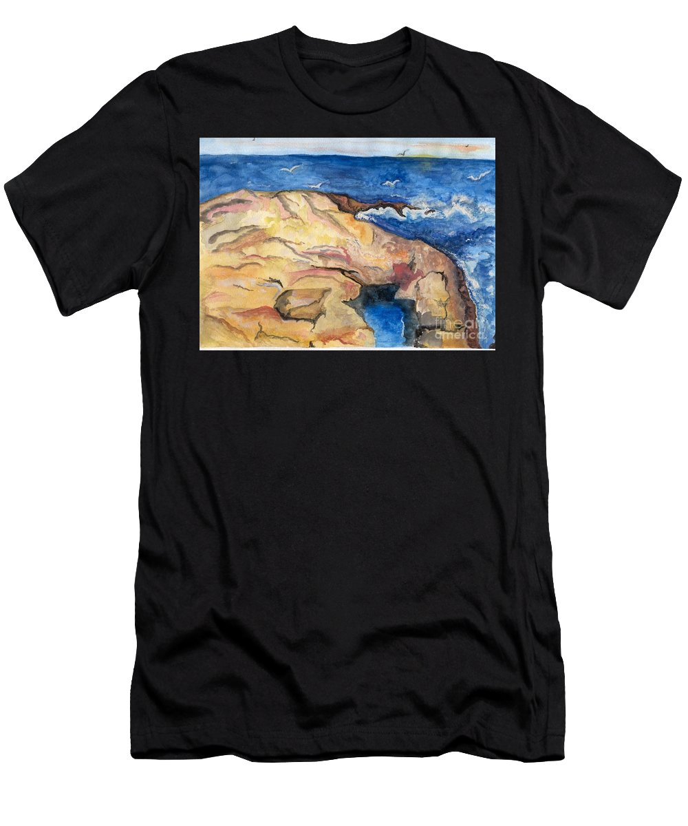 The Rock Men's T-Shirt (Athletic Fit) featuring the painting The Rock by Anne Gitto