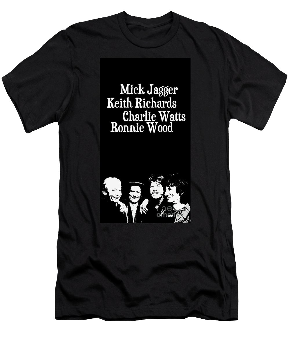 The Rolling Stones T-Shirt featuring the digital art The Rolling Stones musicians. Mick Jagger Keith Richards Charlie Watts Ronnie Wood by Drawspots Illustrations