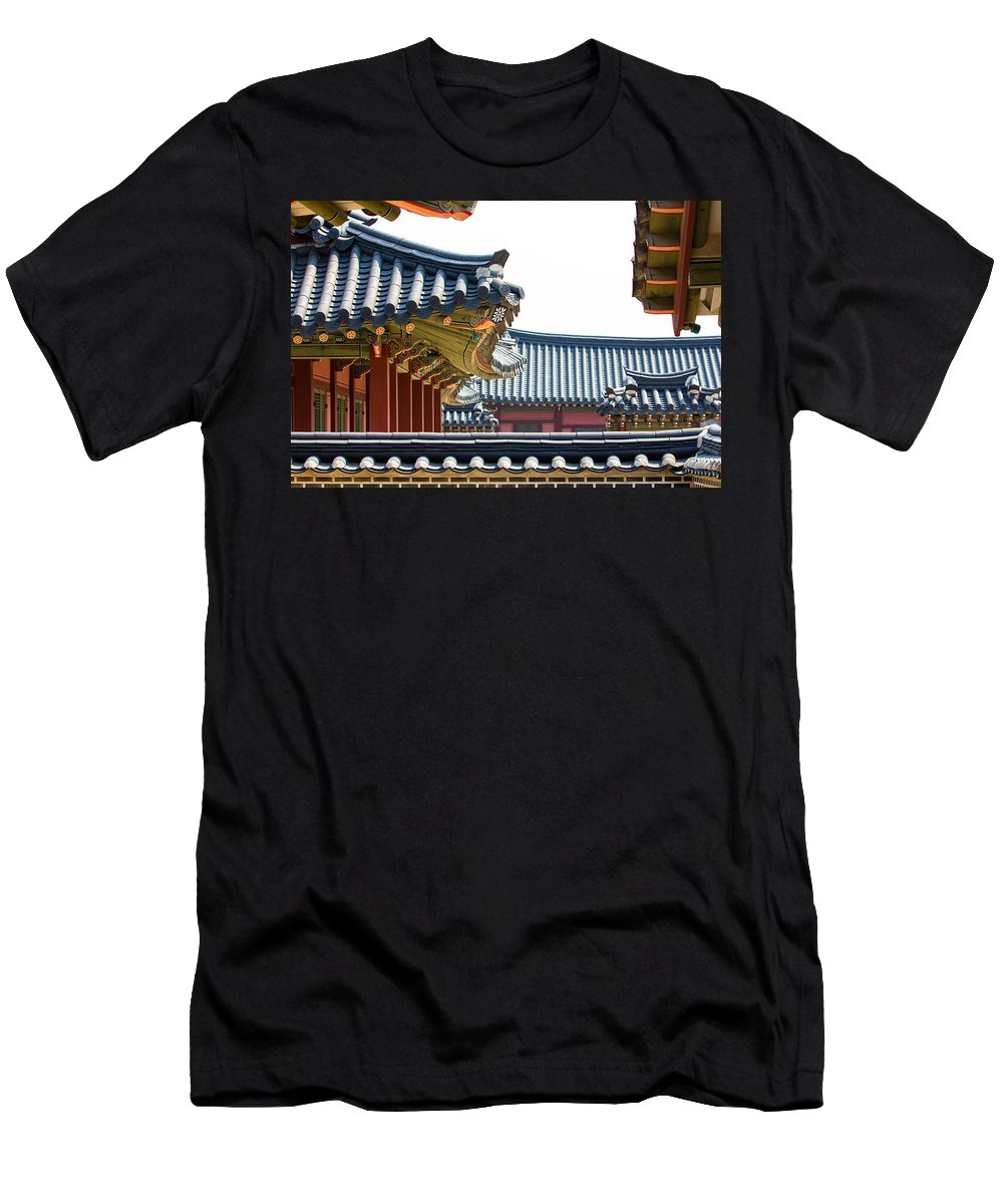 Asia Men's T-Shirt (Athletic Fit) featuring the photograph The Roofs Of Suwon by Peteris Vaivars