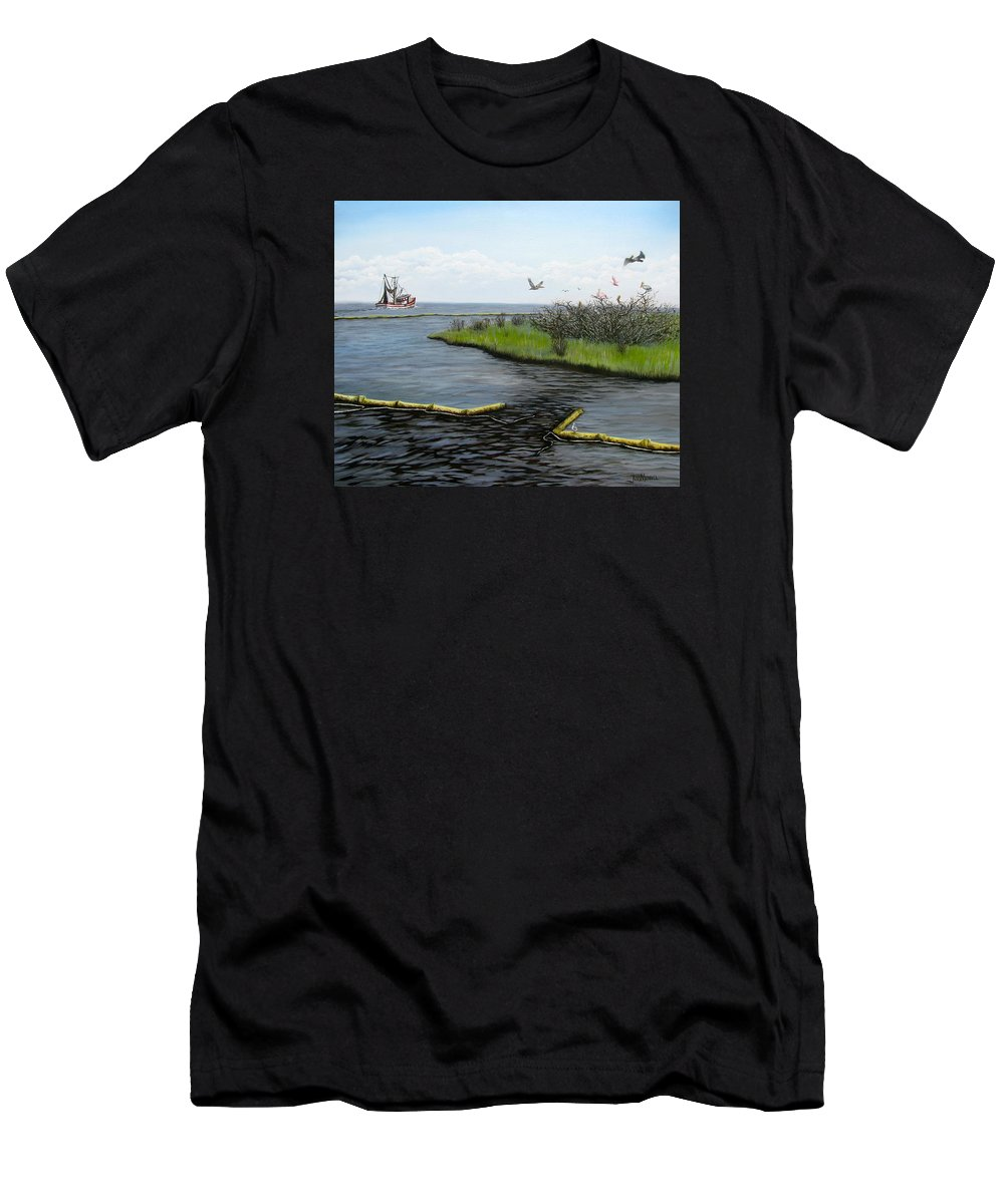 Rookery Men's T-Shirt (Athletic Fit) featuring the painting The Rookery by Judy Merrell