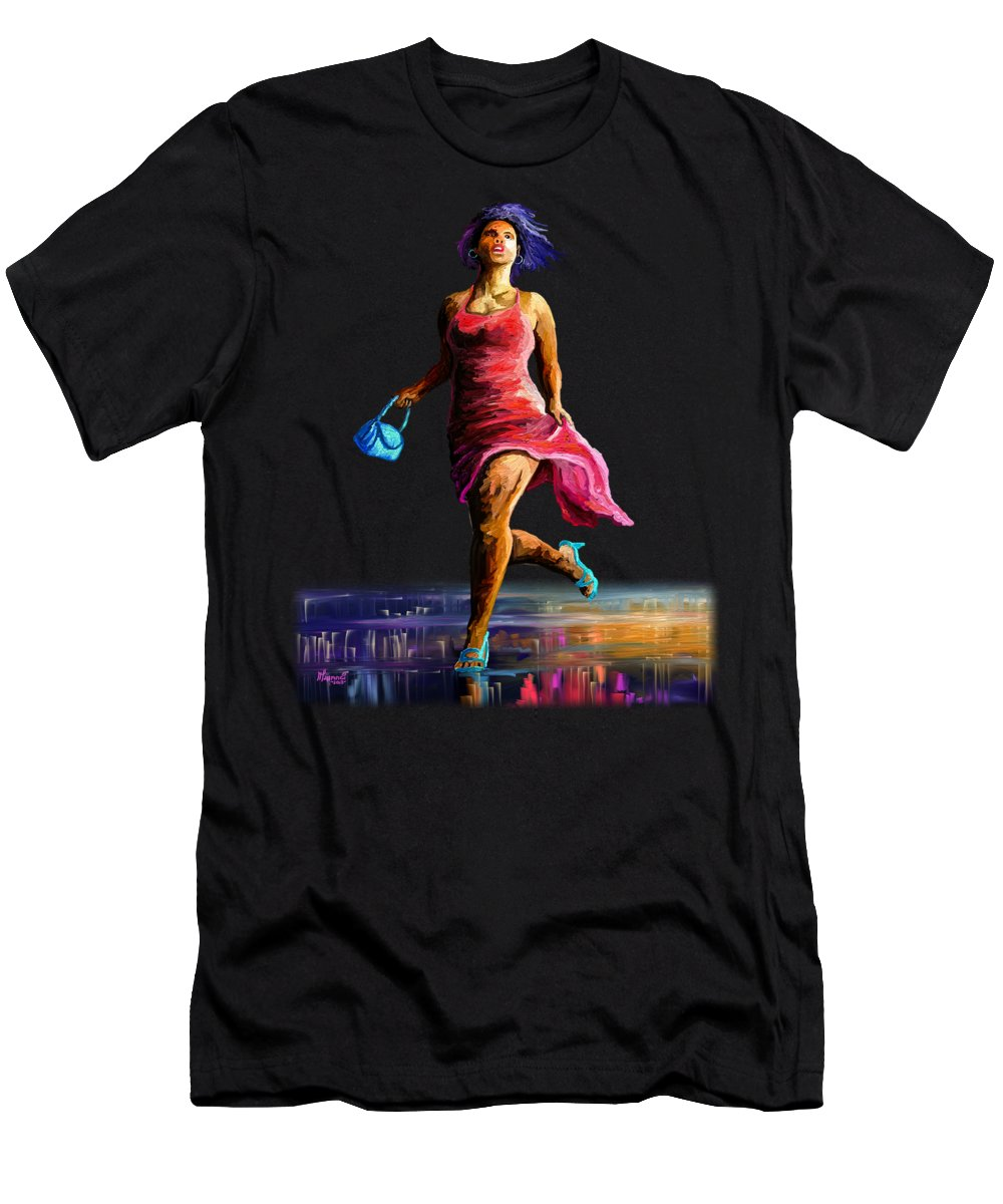 Hair Men's T-Shirt (Athletic Fit) featuring the painting The Runner by Anthony Mwangi