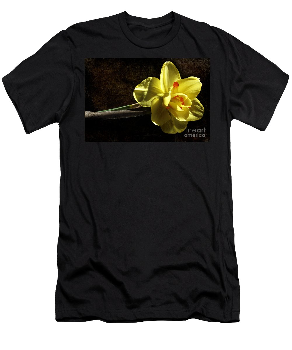 Yellow Daffodil Men's T-Shirt (Athletic Fit) featuring the photograph The Secrets Within by Michael Eingle