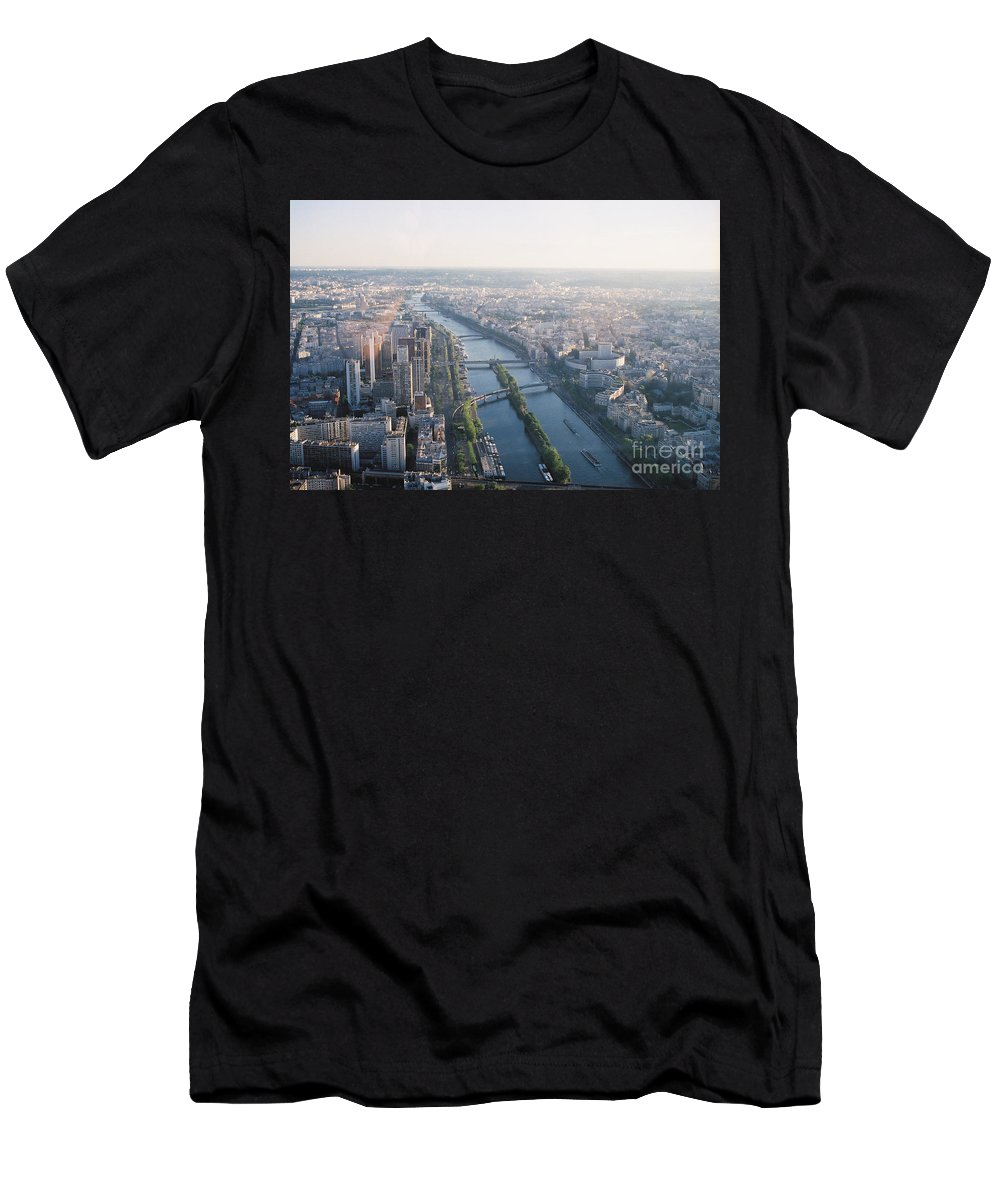 City Men's T-Shirt (Athletic Fit) featuring the photograph The Seine River In Paris by Nadine Rippelmeyer