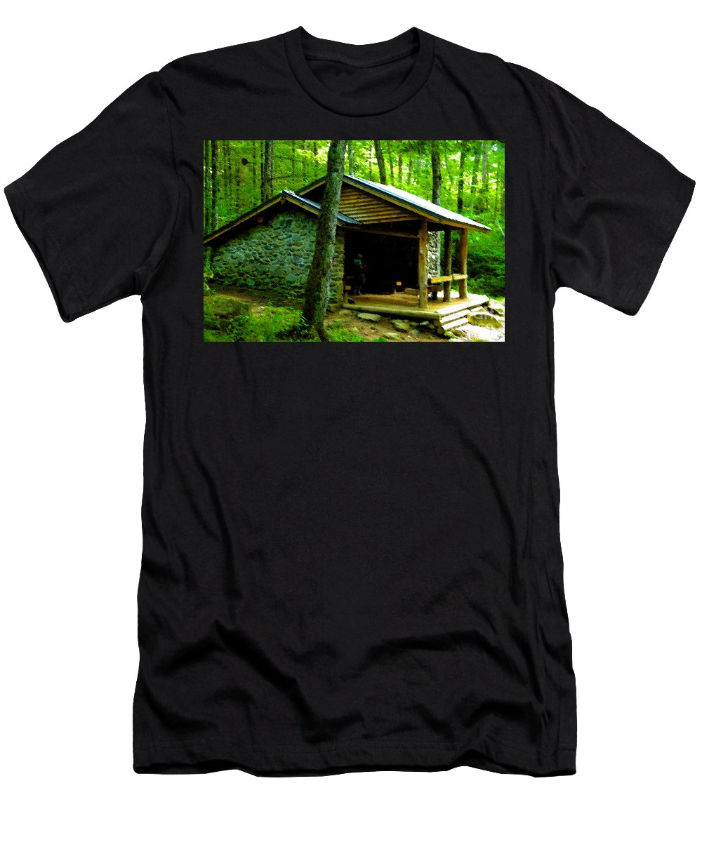 Appalachian Trail Shelter Men's T-Shirt (Athletic Fit) featuring the painting The Shelter by David Lee Thompson