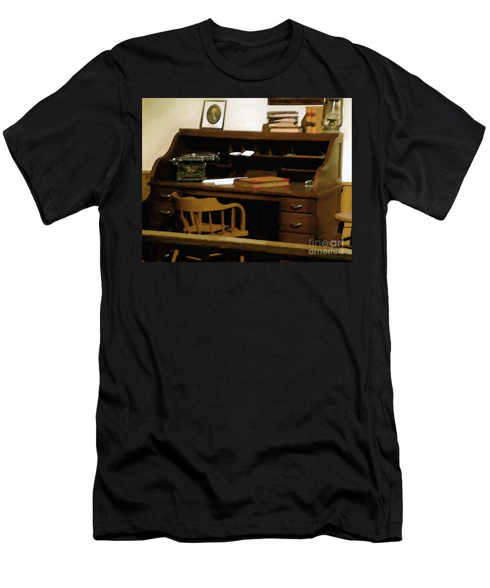 Antiques Men's T-Shirt (Athletic Fit) featuring the digital art The Sheriff Is Out by RC DeWinter