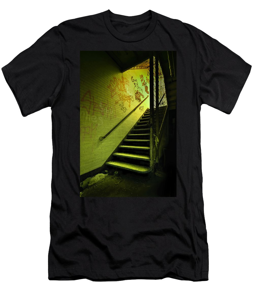 Stair Men's T-Shirt (Athletic Fit) featuring the photograph The Shining Darkness by Evelina Kremsdorf