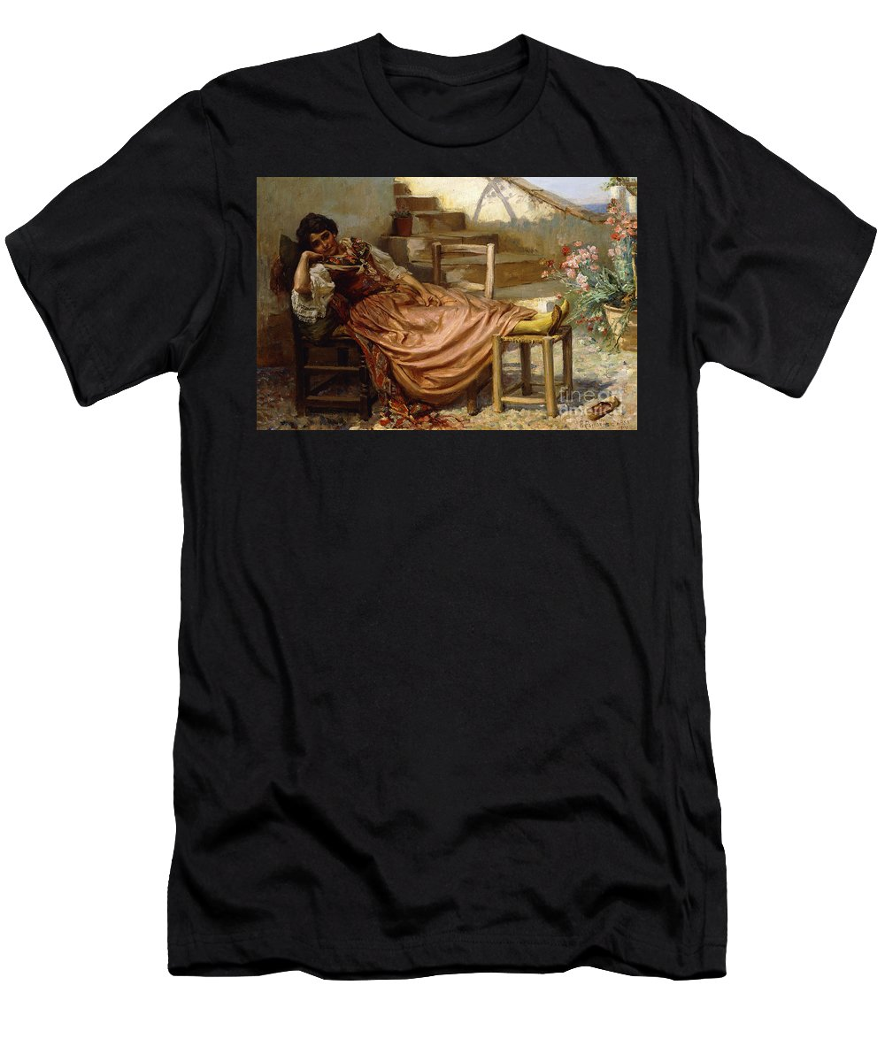 The Siesta Men's T-Shirt (Athletic Fit) featuring the painting The Siesta, 1909 by Robert Payton Reid