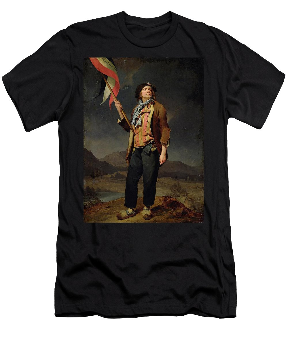 Louis-l�opold Boilly - The Singer Chenard Men's T-Shirt (Athletic Fit) featuring the painting The Singer Chenard by MotionAge Designs