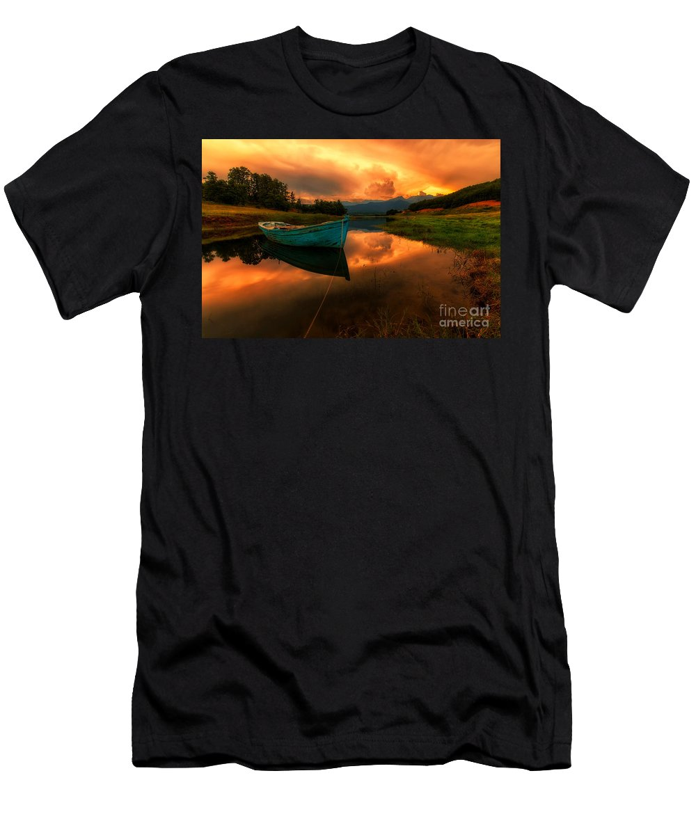 Greece Men's T-Shirt (Athletic Fit) featuring the photograph The Sky's On Fire by Konstantinos Lagos