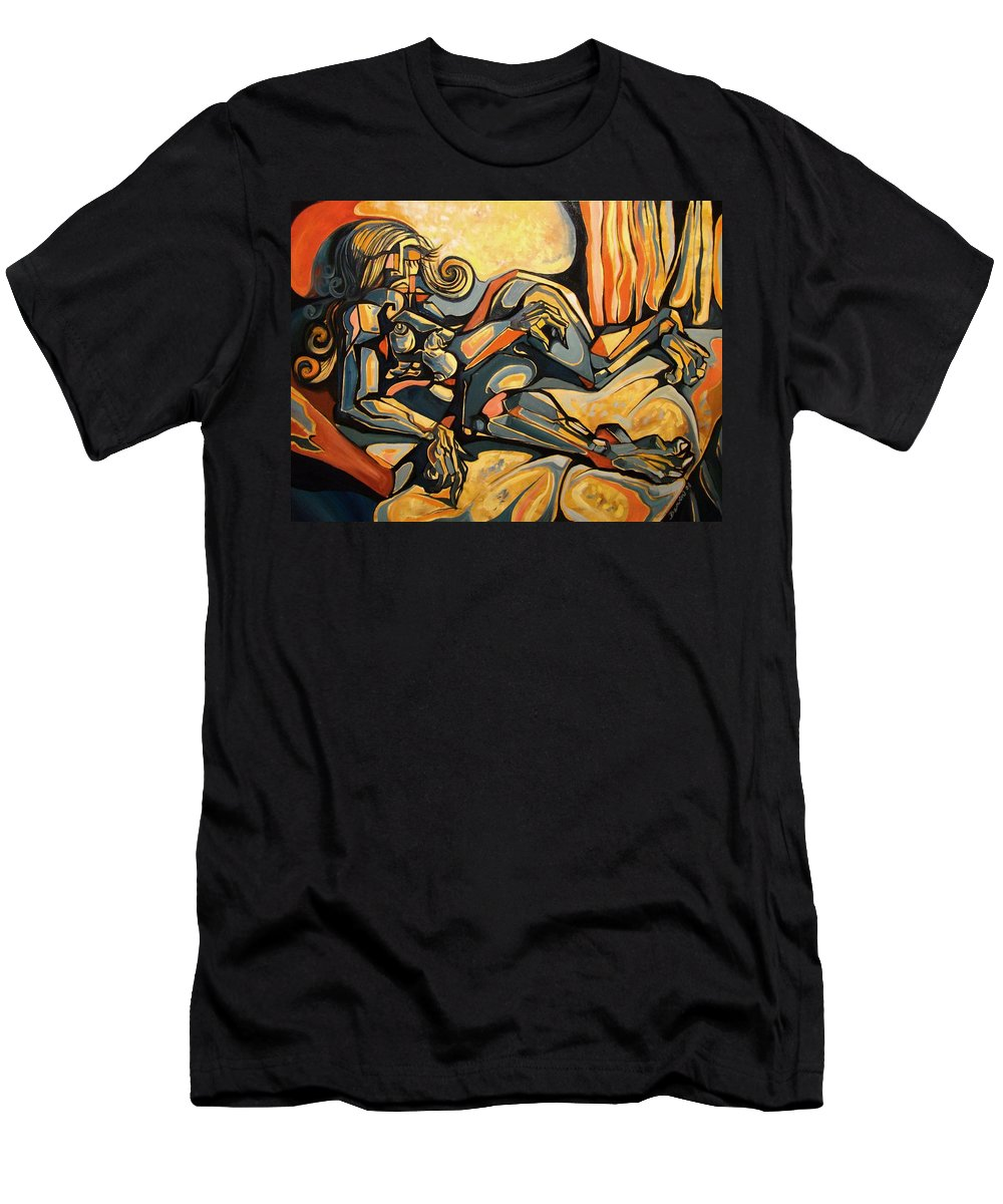Surrealism Men's T-Shirt (Athletic Fit) featuring the painting The Sleeping Muse by Darwin Leon