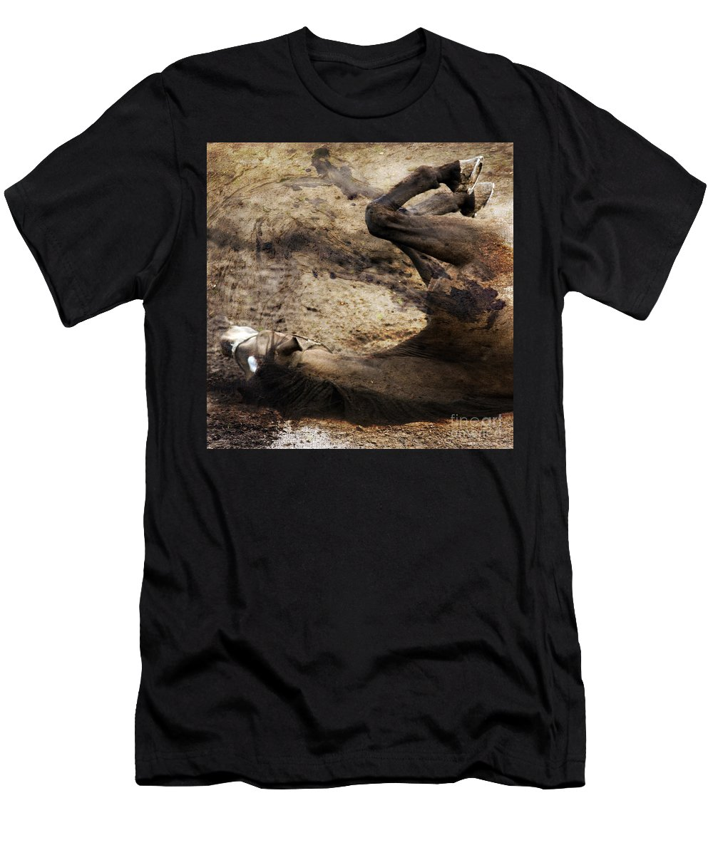 Horse Men's T-Shirt (Athletic Fit) featuring the photograph The Smell Of The Soil by Angel Ciesniarska