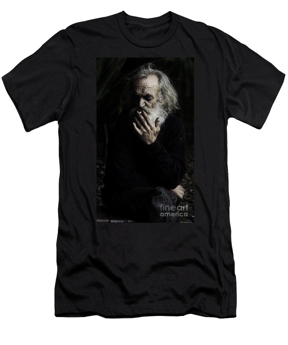 Homeless Male Smoking Smoker Aged Men's T-Shirt (Athletic Fit) featuring the photograph The Smoker by Avalon Fine Art Photography
