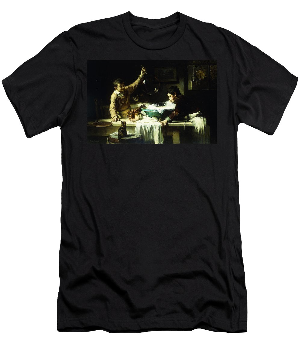 Cat Men's T-Shirt (Athletic Fit) featuring the painting The Soap Bubbles by Joseph Bail