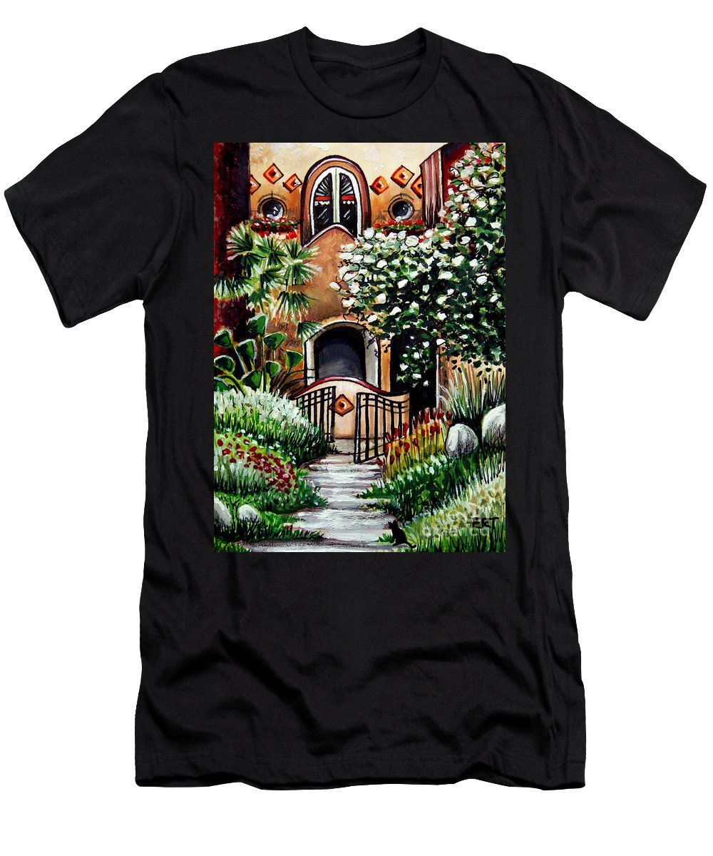 Gardens Men's T-Shirt (Athletic Fit) featuring the painting The Spanish Gardens by Elizabeth Robinette Tyndall