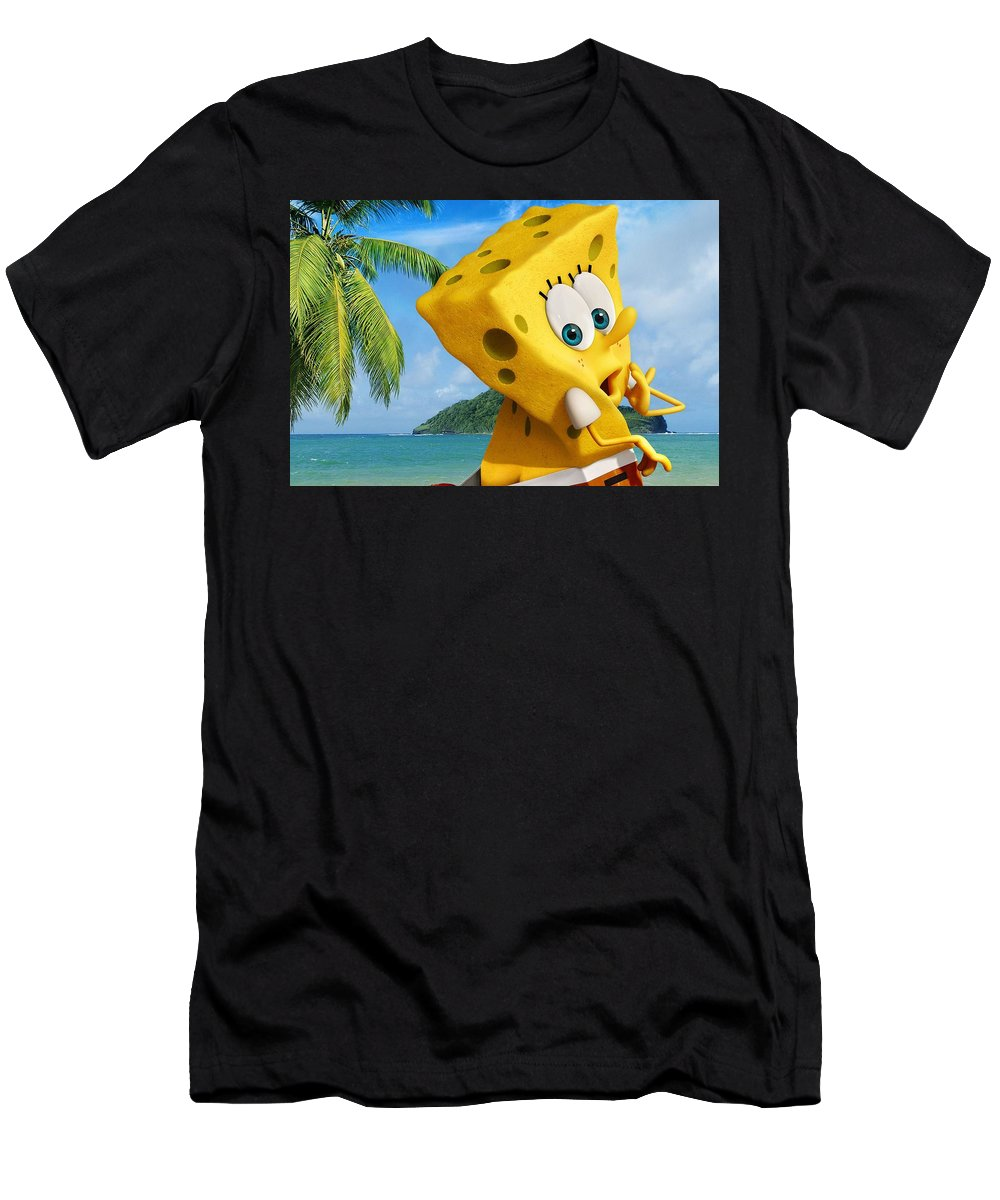 The Spongebob Movie Sponge Out Of Water Men's T-Shirt (Athletic Fit) featuring the digital art The Spongebob Movie Sponge Out Of Water by Super Lovely