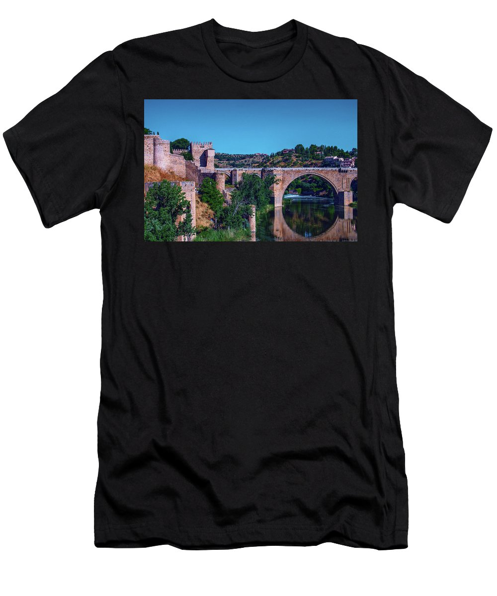 George Westermak Men's T-Shirt (Athletic Fit) featuring the photograph The St. Martin Bridge Over The Tagus River In Toledo by George Westermak