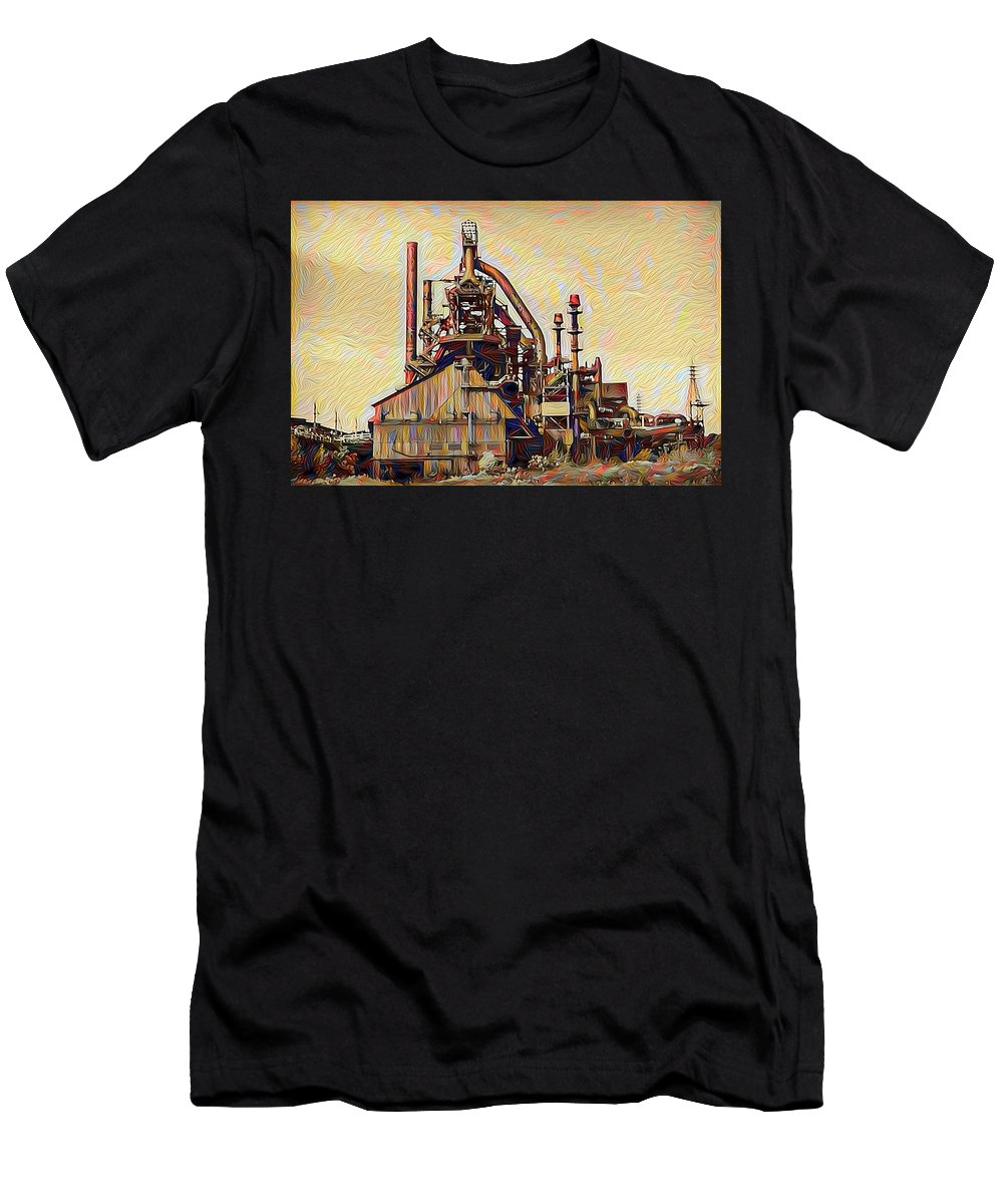 The Men's T-Shirt (Athletic Fit) featuring the painting The Steel Stacks Watercolor by Bill Cannon