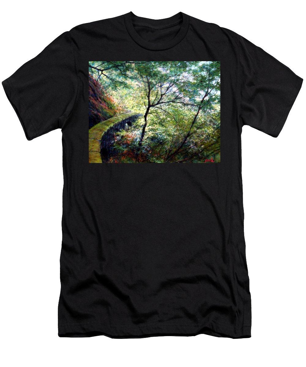 Pastel T-Shirt featuring the painting The Stone Wall by Jim Gola