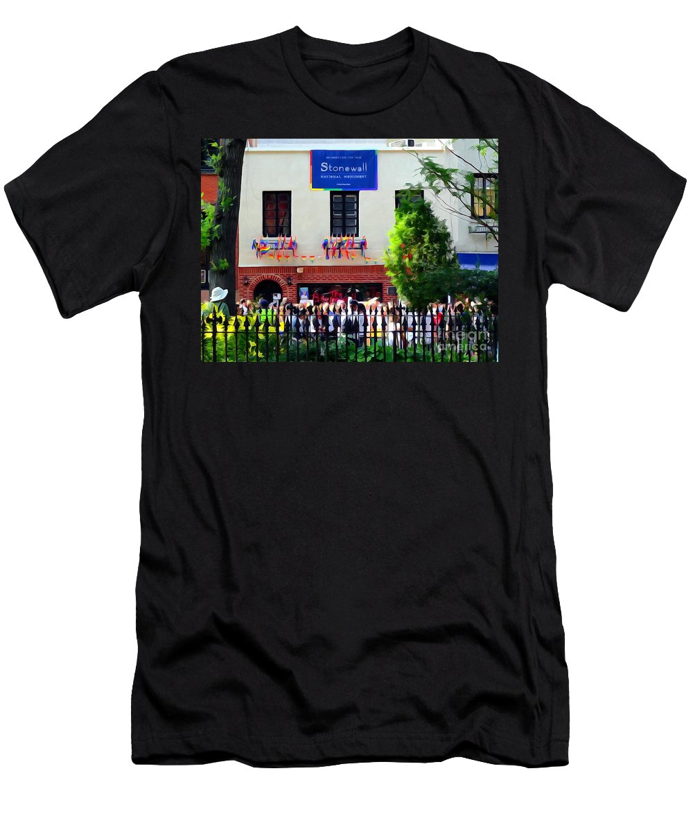 Digital Men's T-Shirt (Athletic Fit) featuring the photograph The Stonewall Inn National Monument by Ed Weidman