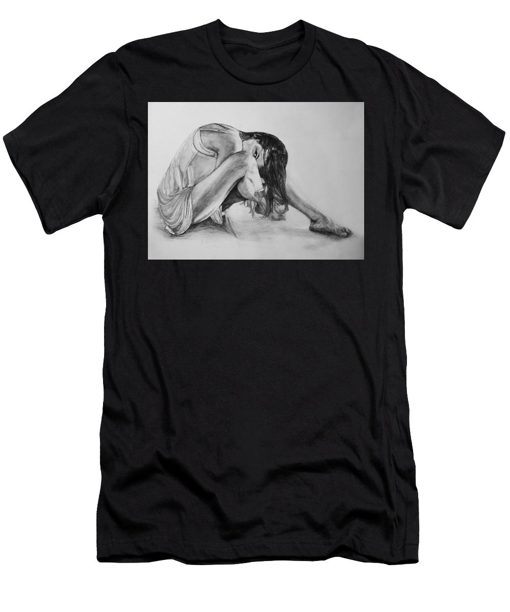 Men's T-Shirt (Athletic Fit) featuring the drawing The Stretch by Sheryl Gallant