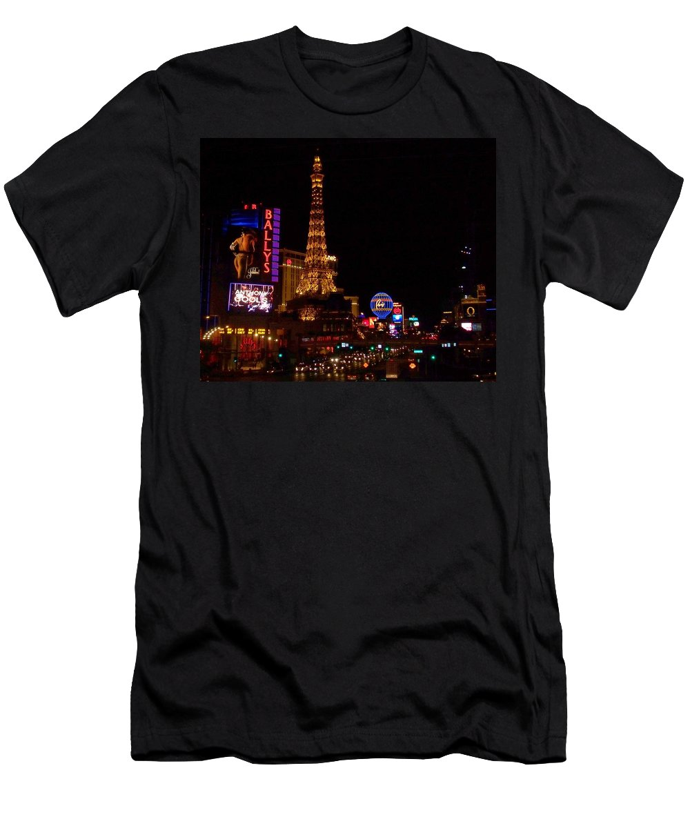 Vegas Men's T-Shirt (Athletic Fit) featuring the photograph The Strip At Night 1 by Anita Burgermeister