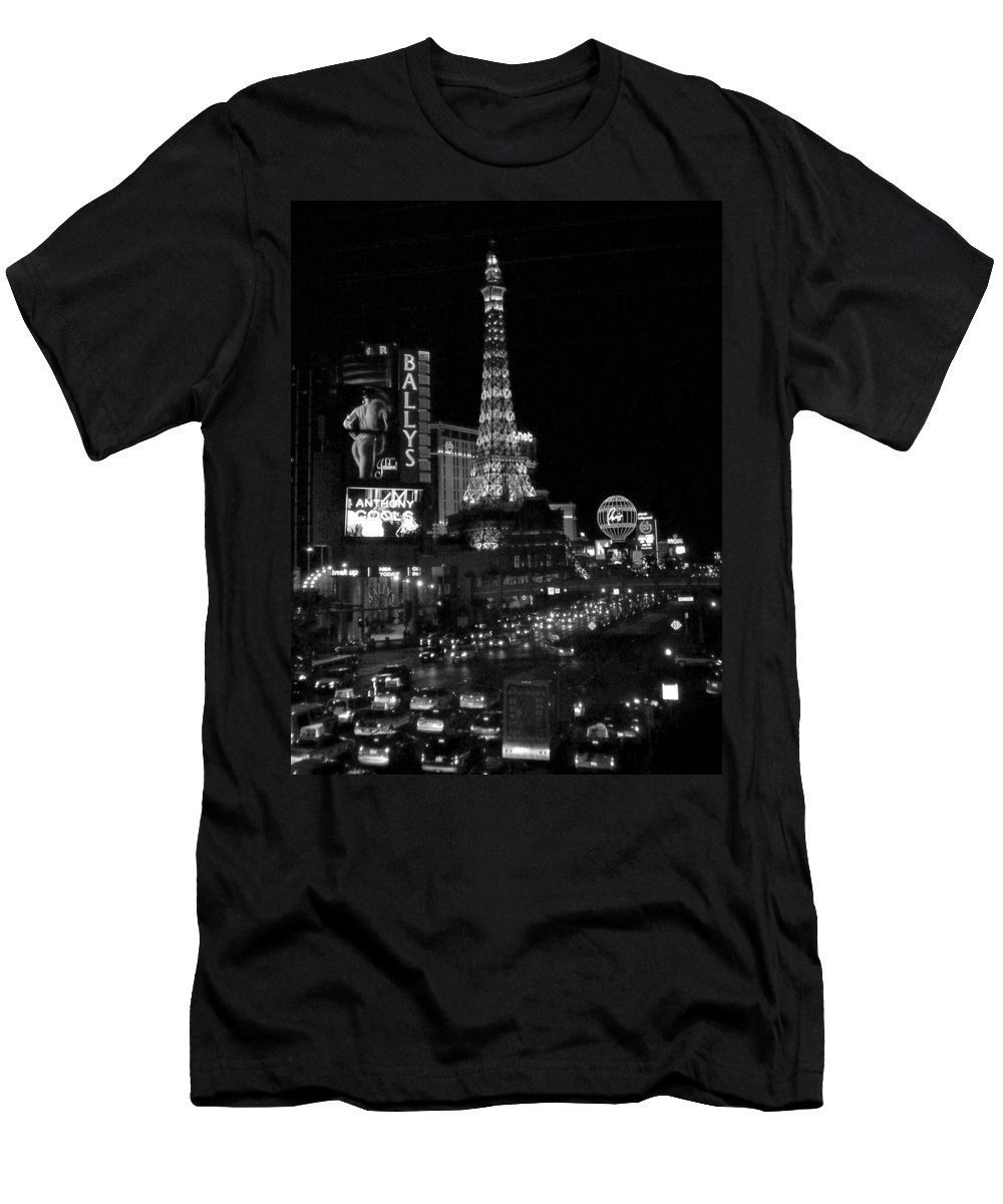 Las Vegas Strip Men's T-Shirt (Athletic Fit) featuring the photograph The Strip By Night B-w by Anita Burgermeister