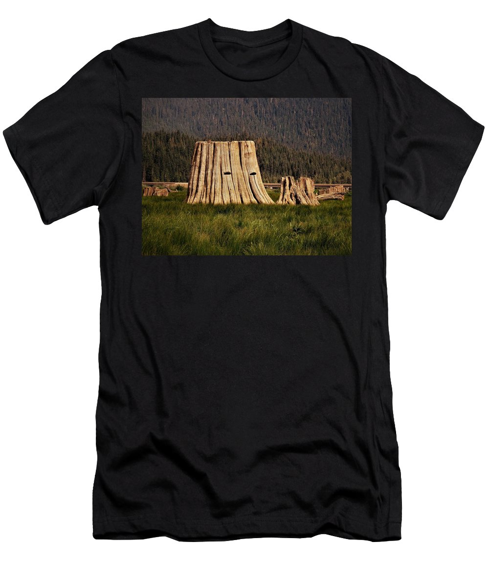 Keechelus Lake Men's T-Shirt (Athletic Fit) featuring the photograph The Stumps Have Eyes by Martin Brockhaus