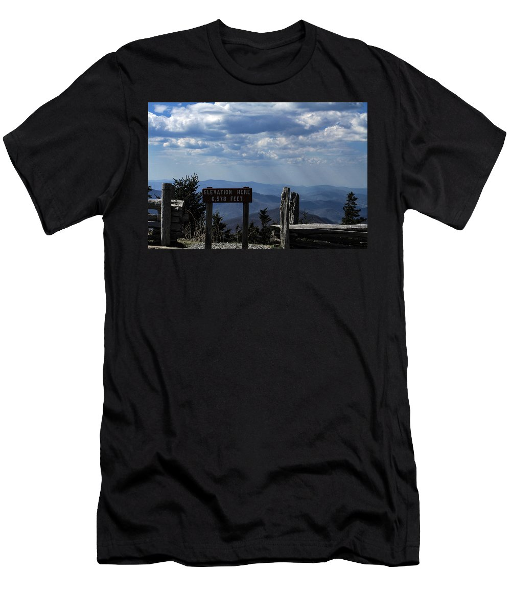 Mount Mitchell Men's T-Shirt (Athletic Fit) featuring the photograph The Summit On Mount Mitchell by Karen Ruhl