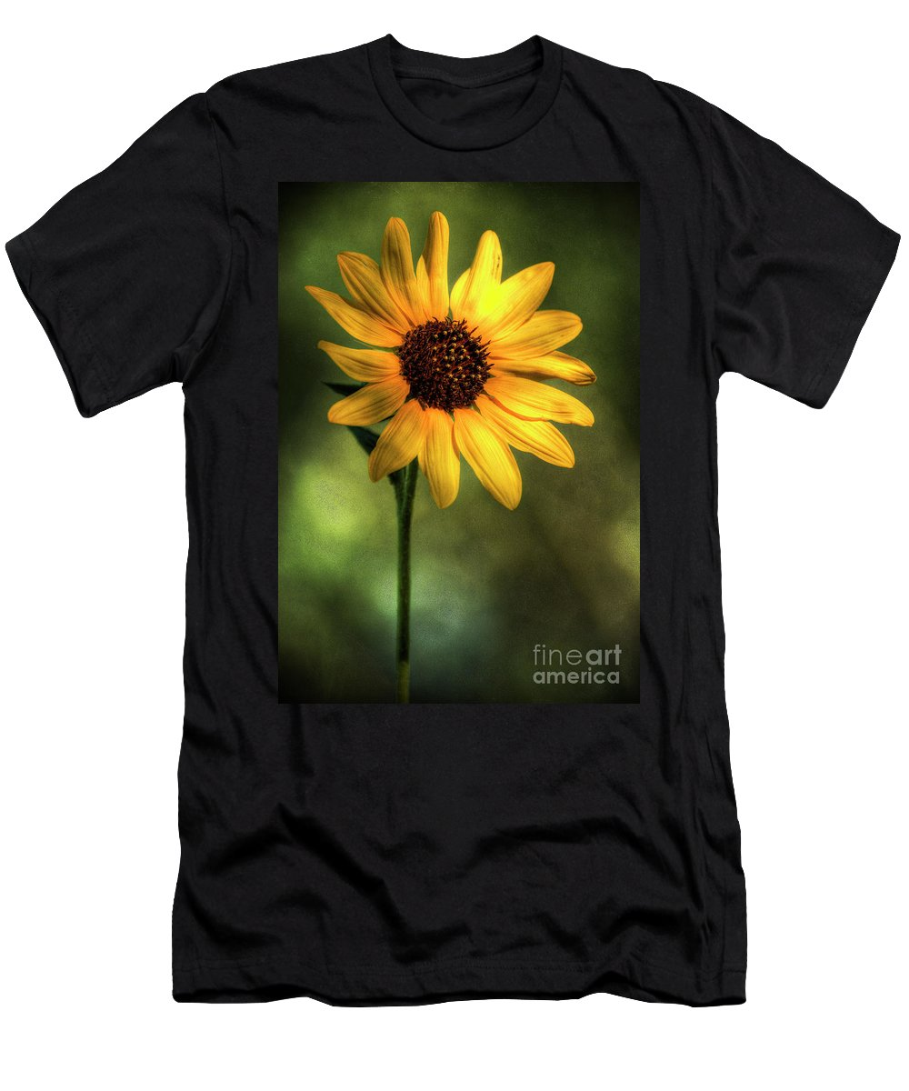 Yellow Sunflower Men's T-Shirt (Athletic Fit) featuring the photograph The Sunflower by Saija Lehtonen